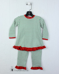 Squiggles Red/Emerald Stripe Ruffle Pant Set