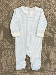 Baby Bliss Blue Gingham Pima Zipper Loungewear