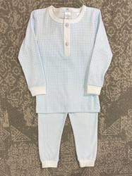 Baby Bliss Blue Gingham Pima 2pc Loungewear