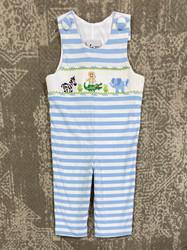 Delaney Blue Stripe Smocked Knit Longall