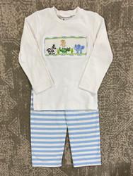 Delaney Blue Stripe Smocked Knit Pant Set
