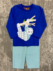 Millie Jay Sammy the Sloth Applique Boys Pant Set