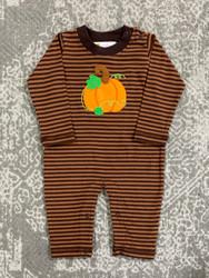 Lily Pads Mocha Stripe Pumpkin Romper