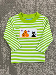Anavini Lime Green Stripe Halloween Smocked Tee