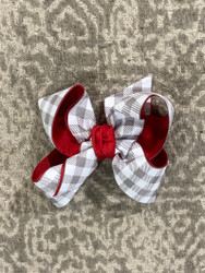Large Red/Gray Layered Bow
