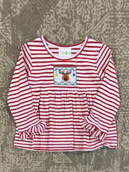 Zuccini Red Stripe Reindeer Smocked Girl Shirt