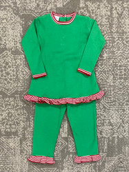 Squiggles Kelly Green/Red Stripe Ruffle Pant Set