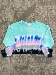 Candy Pink Aqua Stripe Tie Dye Crop Sweatshirt