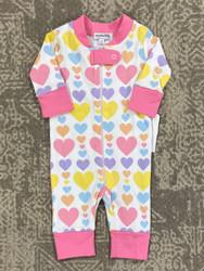 Magnolia Baby Pastel Hearts Zipper Jammie