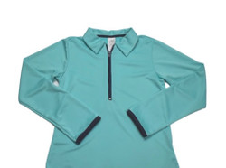 Set Heather Half Zip Pullover- Teal w/Navy