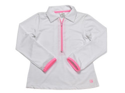 Set Heather Half Zip Pullover- White w/Pink
