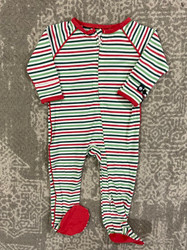 Sweet Bamboo Christmas Stripes Zipper Footie