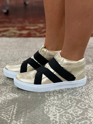 Hoo Family Shoes Gold/Black Strap Sneaker