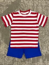 Squiggles Red Stripe/Royal Short Set