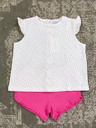 Squiggles Orange/Hot Pink Dot Short Set