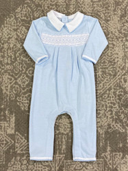 Magnolia Baby Classic Light Blue Smocked Romper