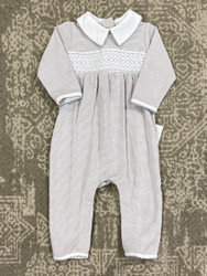 Magnolia Baby Classic Grey Smocked Romper