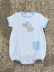 Magnolia Baby Light Blue Elephant Applique Bubble