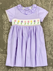 LuLu BeBe Lavender Flowers Smocked Waist Dress