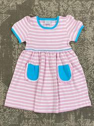 Squiggles Pink Wide Stripe/Aqua Pockets Dress