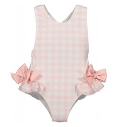 Sal & Pimenta Light Pink Check Bow Swimsuit