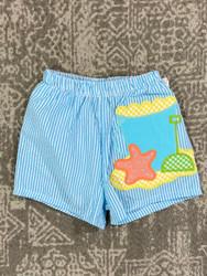 Bailey Boys Beach Fun Applique Swim Trunk