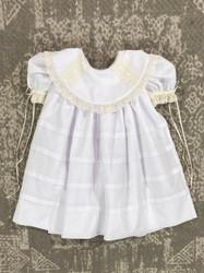 La Jenns White/Ecru Round Collar Heirloom Dress