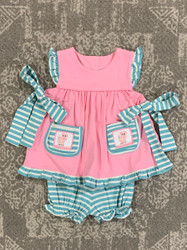 Three Sisters Piggy Smocked Tie Bloomer Set