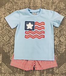 Three Sisters American Flag Boys Short Set