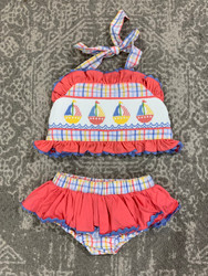 Three Sisters Sail Away 2 Pc Smocked Swimsuit