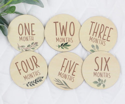 Botanical Monthly Milestones Wooden Discs