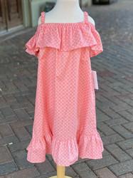 Funtasia Too Coral Print Ruffle Shoulder Dress