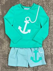 Funtasia Too Mint Anchor Rash guard Swim Trunk Set