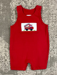 Silly Goose Red Smocked Firetruck Romper