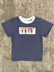 Silly Goose Navy Stripe Smocked Lures Tee