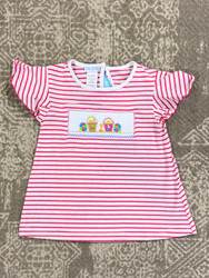 Silly Goose Pink Stripe Smocked Sand Pail Tee