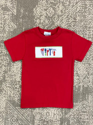 Silly Goose Red Smocked Tools Tee