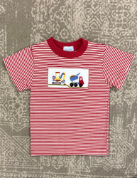 Silly Goose Red Stripe Smocked Construction Tee