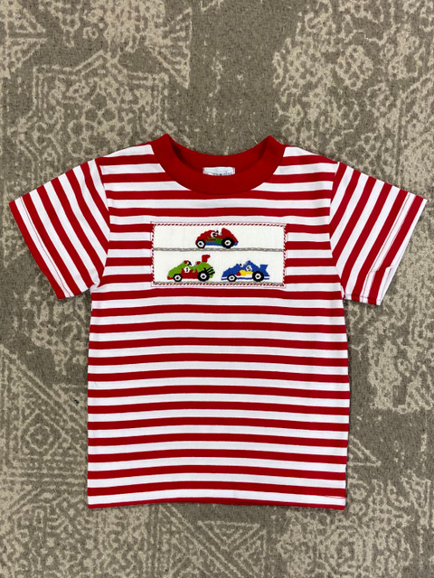 Silly Goose Red Stripe Smocked Race Cars Tee