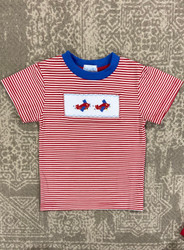 Silly Goose Red Stripe Smocked Airplanes Tee