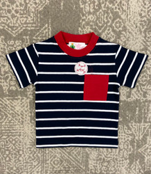 Lily Pads Navy Stripe Baseball Pocket Applique Tee