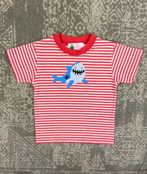 Lily Pads Coral Stripe Shark Applique Tee