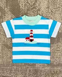 Lily Pads Turquoise Stripe Lighthouse Applique Tee