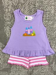 Lily Pads Lav/Pink Stripe Sand Castle Shortie Set