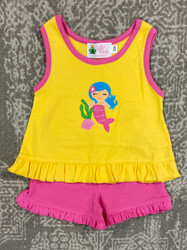 Lily Pads Yellow/Hot Pink Mermaid Shortie Set