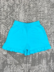 Lily Pads Teal Ruffle Shorts