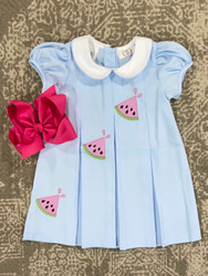 LuLu BeBe Blue Watermelon Embroidered Dress