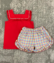 True Multi Plaid Ruffle Short Set