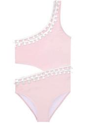 Stella Cove Pink/White Pom Pom 1 Piece Swimsuit