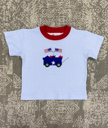 Lily Pads Blue Gingham Patriotic Wagon Tee